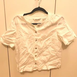 Orvis white linen short sleeve button up, size XS